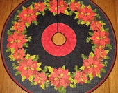 Christmas Tree Skirt, Quilted, Poinsettias, Christmas Decorations