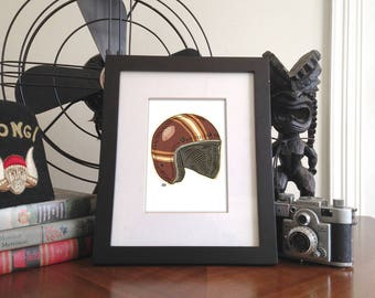 drawing of an open faced motorcycle helmet T 5x7 Giclee Print unframed