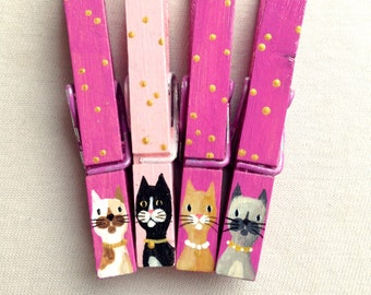 PINK CAT CLOTHESPIN hand painted magnetic pink and gold