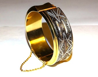 Vintage Spanish damascene hinged bangle with inlaid mother of pearl, white and black enamel details