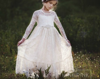 flower girl dress, flower girl lace dresses, country lace dress, ivory lace dress cream, Rustic flower girl, girls lace dress, toddler dress