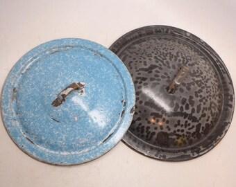 Antique Enamelware Lids - Graniteware Lids - Pot Lids