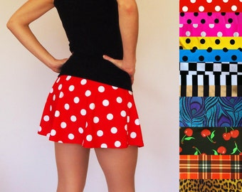 Patterned Flared Skort, Skirt with Attached Shorts - Pre-Order