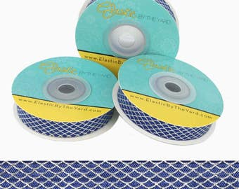 "Silver Scales on Navy Print - 5/8"" Wide - Fold Over Elastic - FOE"