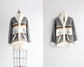 Vintage Cardigan Sweater . Novelty Deer Sweater . Chunky Knit Winter Sweater