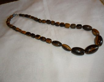 Vintage Genuine Tiger Eye Necklace Huge Stones 29 Inchs Long