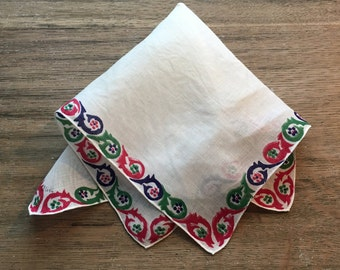 Vintage Red, Blue and Green Edged Handkerchief Hanky- handkerchief, printed hanky, red, blue and green hanky