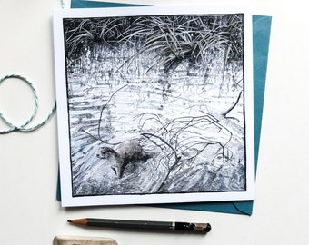 Texture of the River - Square Art Card - Detailed Pencil Drawing of an Otter