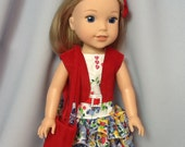 14.5 Inch Doll Clothes Ruffled Summer Dress with Vest and Purse to fit dolls like Wellie Wishers dolls