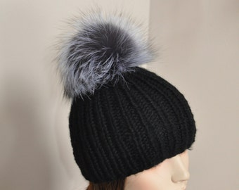 Fur PomPom Beanie 100% CASHMERE Chunky  Beanie Hat Fur pompom Ribbed Beanie Black Hat Double Bobbles Black hat Christmas Gift
