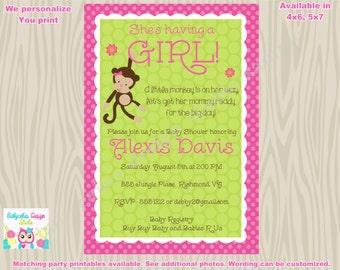 Monkey Baby Shower Invitation Invite Girl Monkey printable invitation invite pink and green baby sprinkle