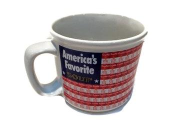 Campbell's America's Favorite Soup Large Mug, 1998 Vintage Soup Mug, Coffee Mug, Warhol Chicken Noodle Soup Can Repeat Pattern