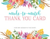 Thank You Card Design, Printable Thank You Cards, Baby Shower Thank You, Baptism Thank You, Birthday Thank You Cards, Printable, DIY