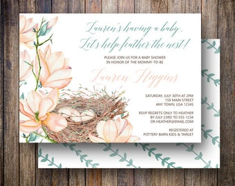 Feather the Nest Baby Shower Invitation, Boho Baby Shower, Gender Neutral Baby Shower, Watercolor Magnolia, Rustic Baby Shower in Pink, Teal