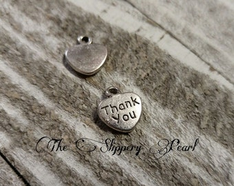 Thank You Charms Jewelry Tags Silver Heart Charms Silver Tag Charms Silver Charms Thank you Tags Silver Word Charms BULK Charms 100pcs