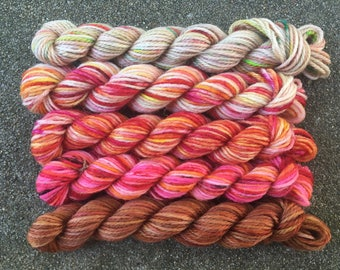 Firewhiskey: Mini Sock Yarn Skeins - 25 yard set of 5 for Harry Potter fans