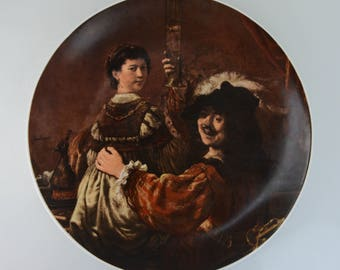 Bareuther Waldsassen Bavaria Germany Victorian Rembrandt and Lady Image Display Plate