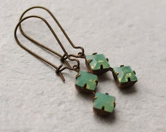 Green Opal Deco Earrings ... Square Geometric Vintage October Birthstone