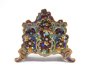 Antique French Cloisonne on Brass Letter Rack