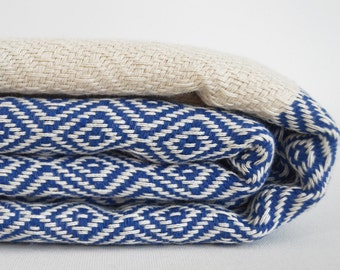 NEW / SALE 30 OFF / Diamond Blanket / Blue / Single Size / Bedcover, Beach blanket, Sofa throw, Traditional, Tablecloth