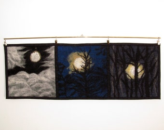 Moonscapes, nuno felted fiber painting