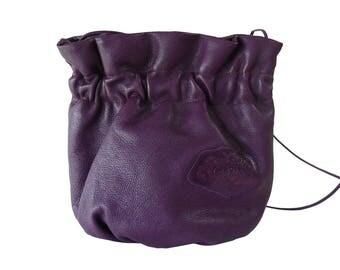 Carlos Falchi Purple Leather Handmade Crossbody Shoulder Bag Pouch Boho Chic