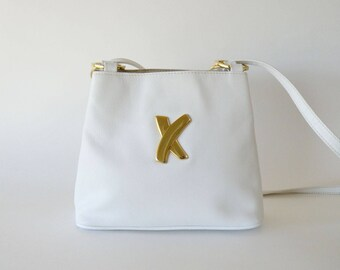Paloma Picasso Small White Leather Crossbody Shoulder Bag Made in Italy