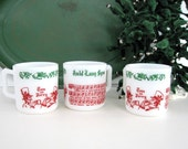 Vintage Mug Set White Milk Glass Musical Notes Song Auld Lang Syne New Years Eve Tom and Jerry Mid Century Holiday