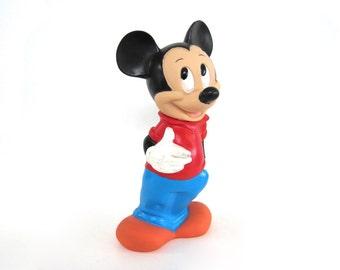 Vintage Mickey Mouse Figurine Bank Walt Disney Company Vinyl Plastic Red Shirt Blue Pants Standing Hand in Pocket 1980s