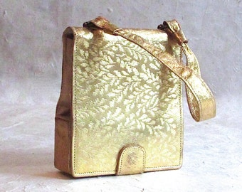 Vintage 1930's Gold leaf lipstick bag | Includes Mirror and Coin Purse | Art Deco Gatsby 20's 30's
