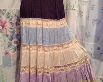SMALL,  Skirt, Bohemian Hippie Gypsy Boho Tiered Lace Skirt