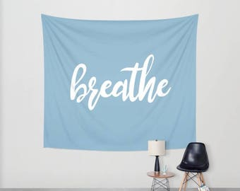Breathe wall tapestry quote wall decoration yoga affirmation home decor