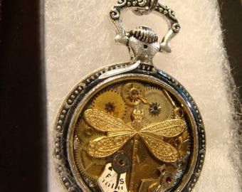 Clockwork Dragonfly Steampunk Pocket Watch Pendant Necklace -Made with Real Watch Parts (2399)