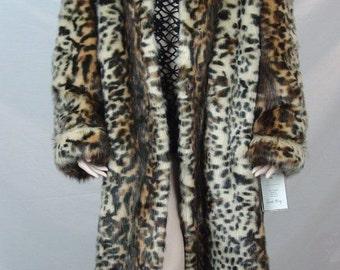 Pamela McCoy Leopard Faux Fur Coat Women's Full Length Jacket L