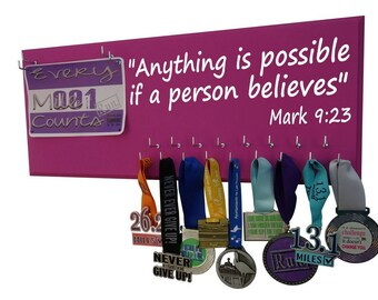 Running medal and race bibs - Anything is possible if a person believes. Mark 9:23 - Gift for runners