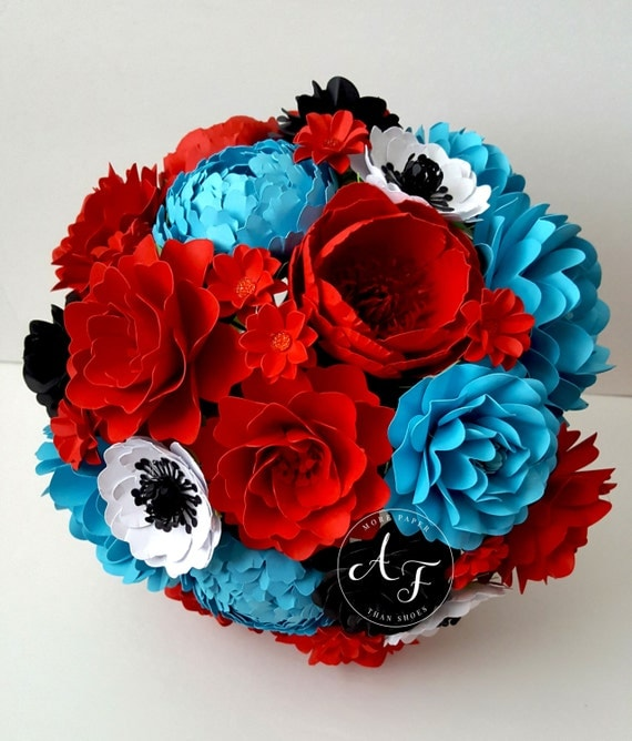 Paper Bouquet - Paper Flower Bouquet - Wedding Bouquet - Red and Black - Custom Made - Any Color