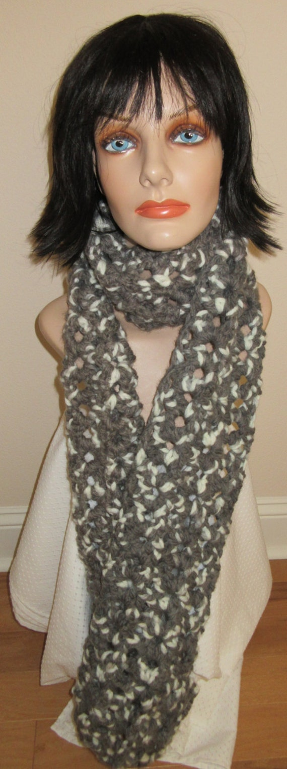 Grey White Chunky Crocheted Scarf, Winter Scarf, Extra Thick Scarf, Cold Weather Scarf
