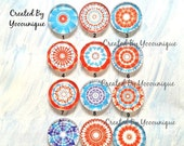 SALE 20% Off - New Collection - 12mm/20mm/25mm /30mm Vintage Kaleidoscope Handmade Photo Glass Cabochon CPC346