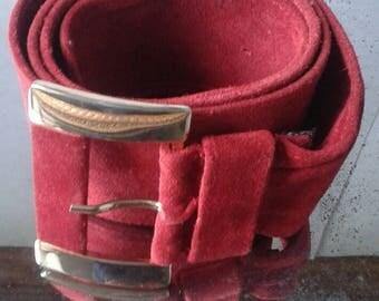 DOLCE & GABBANA    Vintage Belt buckle   Red suede color /Gift idea