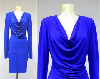 Vintage 1980s Norma Kamali Jersey Suit / 80s Cobalt Blue Soft Dressing Ensemble Cowl Top Pencil Skirt Set / Medium