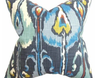 Pillow cover in gray and blue ikat design