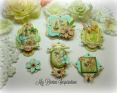 Graphic 45 Once Upon a Spring Handmade Scrapbook Embellishments Paper Embellishments for Scrapbooking Layouts Cards Mini Albums Paper Crafts