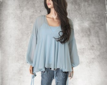 Blue pastel blouse/deep v neck/chiffon long sleeve