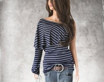 Navy stripe knit top/Asymmetrical shoulder layer/women cold shoulder/blouson long sleeve