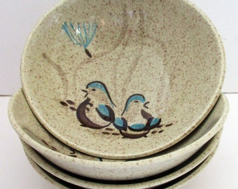 Vintage RED WING (4) Coupe Cereal Bowls with Bob White Quail. Mid-century Modern.