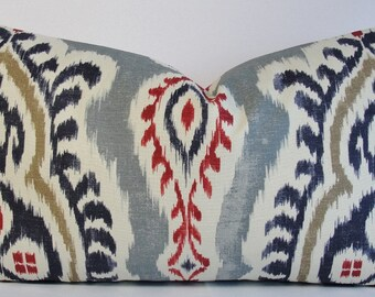 Kilim IKAT designer Lumbar size pillow cover Throw pillow in red indigo blue off white gray Ethnic influence batik