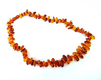"""Baltic Amber Jewelry Necklace Honey Cognac Natural Untreated 18.3"""" 28.1 gram"""