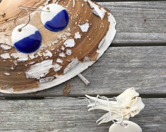 Stefany, round cobalt blue and white porcelain earrings. Porcelain jewellery