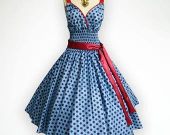 Gorgeous Blue Big Blue Polka Dot 50s Pin up Rockabilly Swing Dress Full Swing Skirt