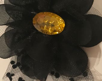 Black Lace Hair Flower with Yellow Jewel Button Hair Barrette Flowers Lace One of a kind